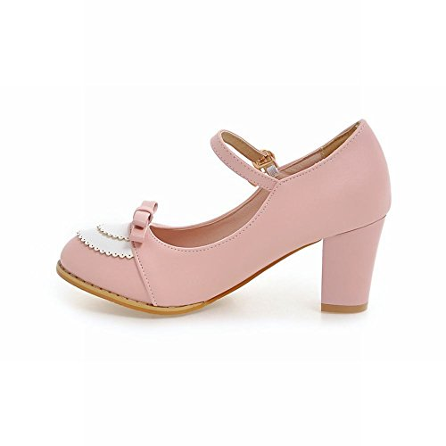 MissSaSa Damen high heel Schleife zweifarbig Riemchen-Pumps Pink