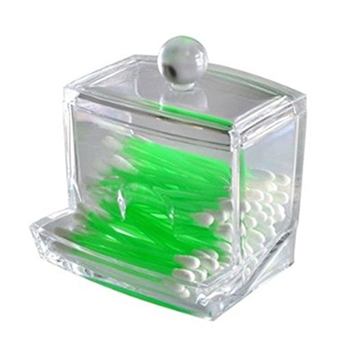 LAAT Acrylic Cotton Box Stems Holder Box Cotton-Pad Dispenser Transparent Storage Box Storage Case for Makeup Cosmetic (Not Include Cotton Swabs) ()