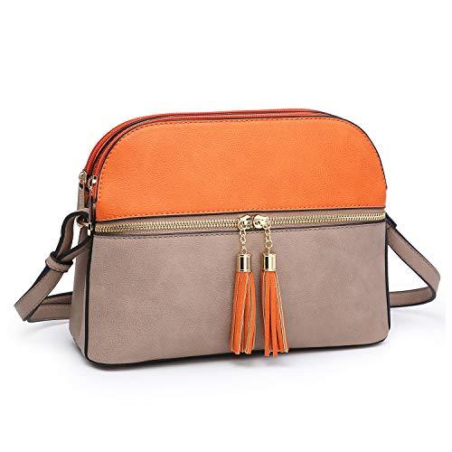 (Functional Multi Pockets Lightweight Medium Crossbody Bags Purses for Women Double Zipper Shoulder Messenger Bag with Tassel (Orange/Stone))