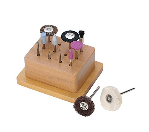 - 12 Piece PMC Finishing Tool Kit Precious Metal Clay Jewelry Making Dremel Polishing Accessory Tool Set w/Wooden Base