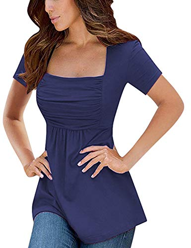 - Yesfashion Womens Square Neck Ruched Tops Empire Waist Tunics Short Sleeve Navy Blue 2XL