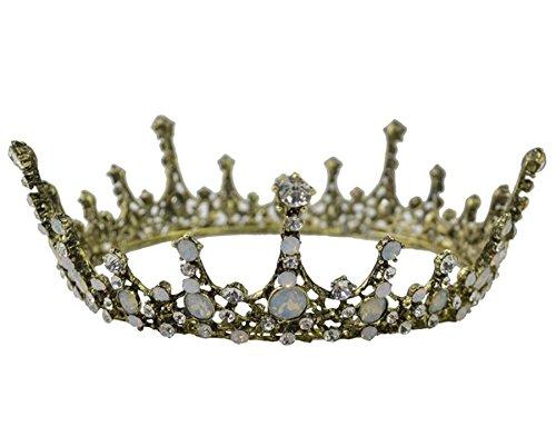 - Wiipu Baroque Bridal Vintage Crystal Pearl Queen Crown Tiaras(A1415)-Gold