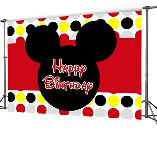 (7x5FT Mickey Mouse Photography Vinyl Photo Background for Kids Birthday Party Backdrops)