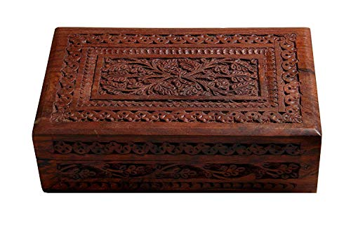 Artisans Of India Wooden Trinket Box 8 x 5 inches Sheesham Wood Jewelry Organizer Keepsake Box Treasure Chest Trinket Holder Watch Box Storage Box Beautifully Handcarved in Floral Pattern