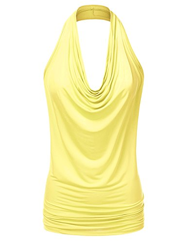 Drapey Cowl - Doublju Womens Sleeveless Sexy Halter Drape Cowl Neck Top with Plus Size Yellow Small