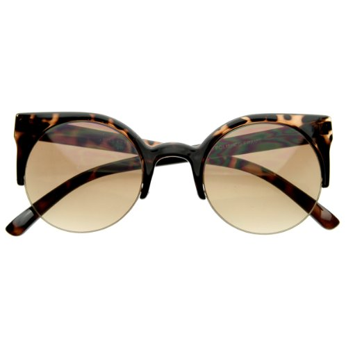 zeroUV - Designer Inspired Round Circle Cat Eye Semi-Rimless Half Frame Sunglasses - Cat Circle Eye Sunglasses