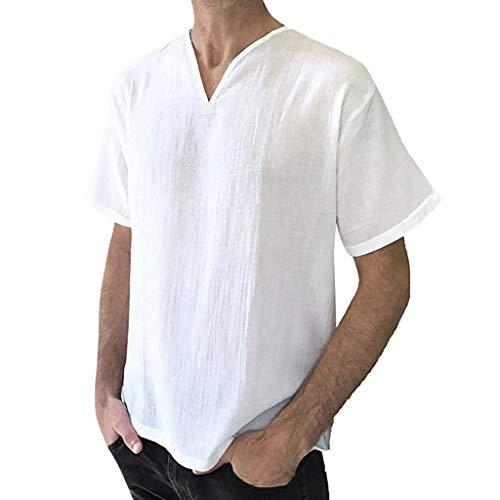 Realdo Mens Cotton Linen T-Shirt,Men's Lightweight Breathable SOID Short Sleeve Retro Shirts Tops Blouse ()
