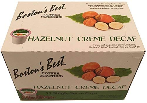 Boston's Best Coffee Roasters: Hazelnut Creme Decaf 12 Single Serve Cups