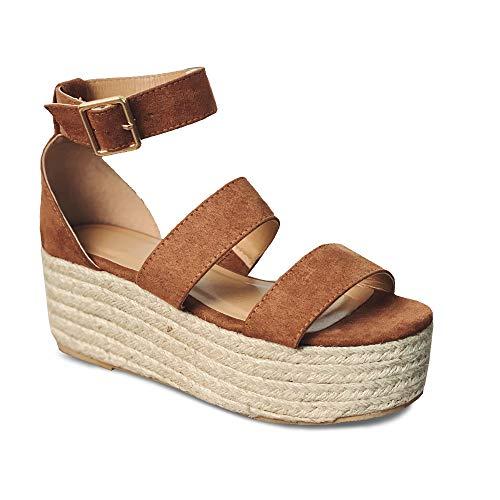 Womens Open Toe Espadrille Ankle Strap Boho Lace Up Rivet Flatform Sandals (41 EU-10.84in(Foot Length)-10 US, D Brown)