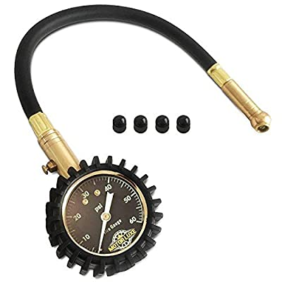 Motor Luxe Tire Pressure Gauge 60 PSI - Accurate Heavy Duty Dial for Your Car Truck and Motorcycle - 4 Free Valve Caps: Automotive