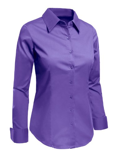 LE3NO Womens Plus Size Tailored Long Sleeve Button Down Shirt with Stretch