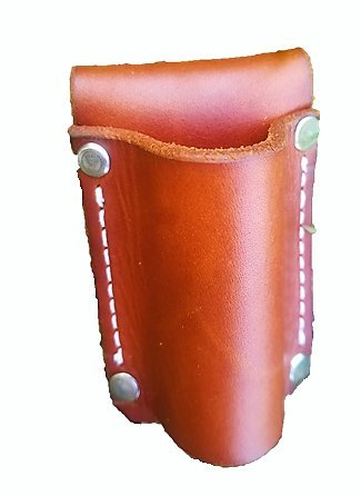 Leather Flashlight Holster for AA Battery Flashlights - Heavyduty Made in USA (Saddle Tan (Rivet)) by AP Saddlery