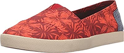 TOMS Women's Avalon Slip-On Red Multi Canvas Hibiscus Sneaker 5 B (M)