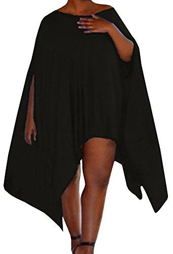 Farktop Women's Plus Size Asymmertric Loose Tunic Tops Phocho Cape Blouse (Swing Cape)