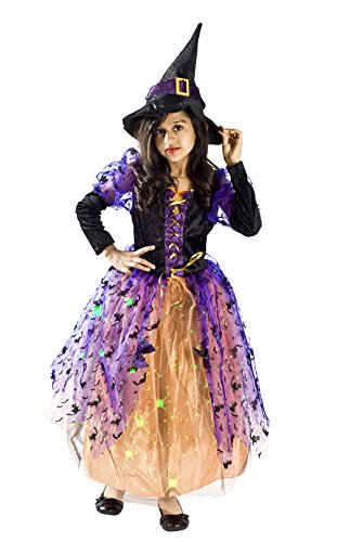 MONIKA FASHION WORLD Witch Halloween Costume Girls Light up S (4-6 -