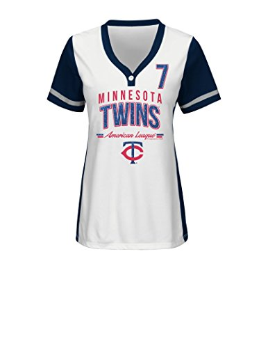 MLB Minnesota Twins Women's Rugged Competitor Pull Over Color Block Name & Number Player Jersey, Large, White/Athletic (Minnesota Twins Player)