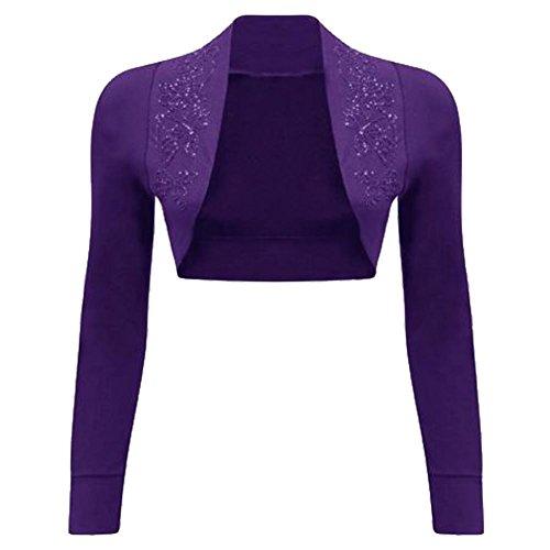 Donna Maniche Da Paillette Purple Con A Lunghe Coprispalle a4IPw