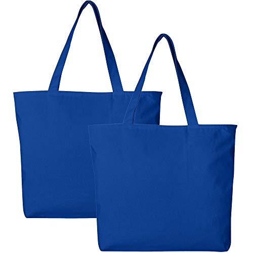 (Pack of 2 Heavy Duty Canvas Tote Bags with Zipper Top and Zipper Inside Pockets)