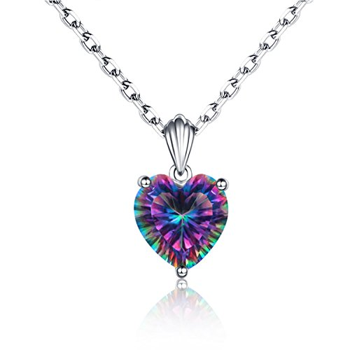 (925 Sterling Silver Heart Shaped Mystic Topaz Pendant Necklace for Women)