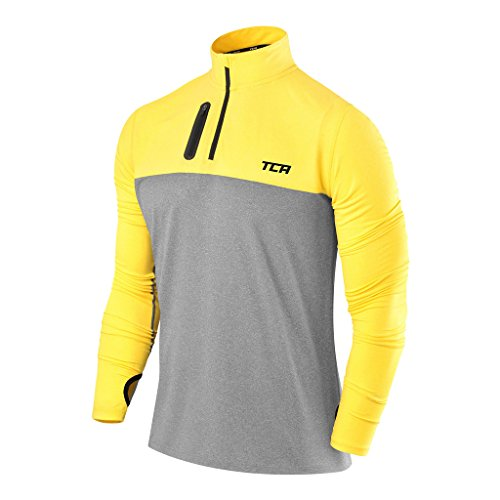 TCA Men's Fusion Pro Quickdry Long Sleeve Half-Zip Running Top Heather Gray/Sonic Yellow L