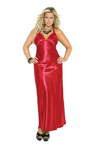 (Hot Spot Women's Plus Size Charmeuse Satin Halter Neck Long Sleepwear Gown Red)