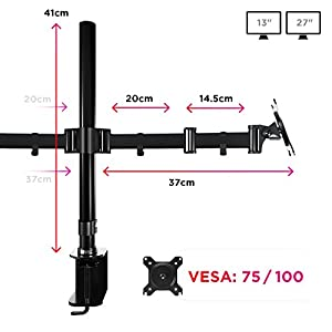 Duronic Desk Mount DM252 PC Dual Monitor Arm Stand Desk Mount Bracket Clamp Double/Twin |LCD |LED | Tilt and Swivel (Tilt ±45°|Swivel 180°|Rotate 360°)