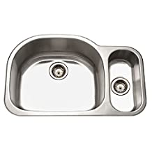 Houzer MG-3209SR-1 Medallion 32-by-21-Inch 80/20 Double Bowl Undermount Stainless Steel Right Side Prep Sink