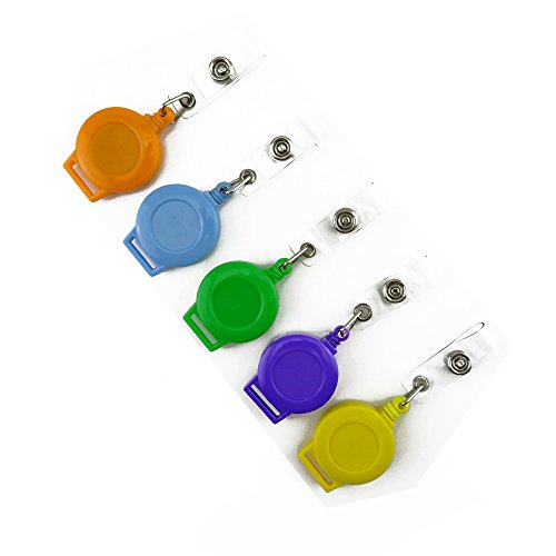 Honbay Round Shape Retractable Carabiner Badge Holder Reels with Badge Strap for Keys, ID Badges and More, Pack of 10,Assorted Colors