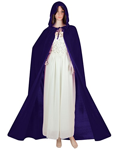 Adult Purple Wizard Costumes (Acediscoball Women's Velvet Hooded Cape Halloween Witch Costume Cloak (Purple))