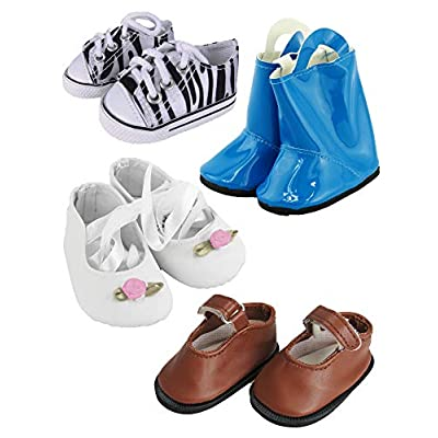 American Fashion World 4 Pairs of Shoes for 18 inch Doll: Toys & Games