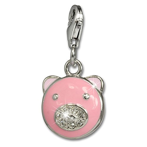 - SilberDream Charm pink enameled pig white zirconia 925 Sterling Silver Pendant Lobster Clasp FC665