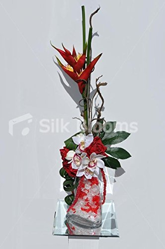 Tropical Rojo Heliconia Rose Amaranthus Y Orquídea