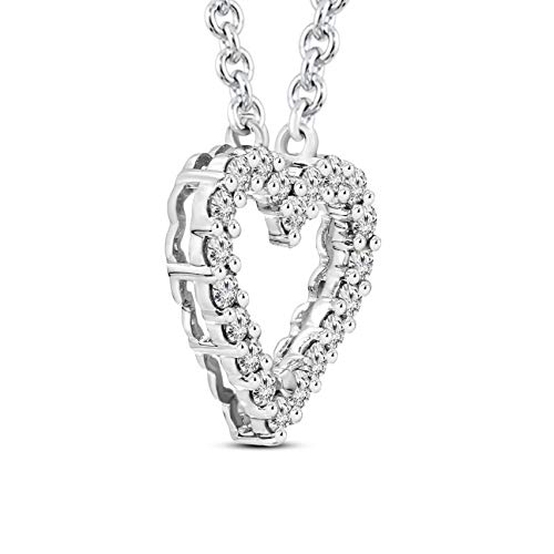 Mothers Day Gift 1/2 ctw IGI Certified Heart Necklace For Women Natural Diamond Heart Pendant I1-GH Quality 10K Gold 100% Real Diamond Pendant (1/2 ctw, White Gold) (Jewelry Gifts For Mothers Day) by TANACHE (Image #2)