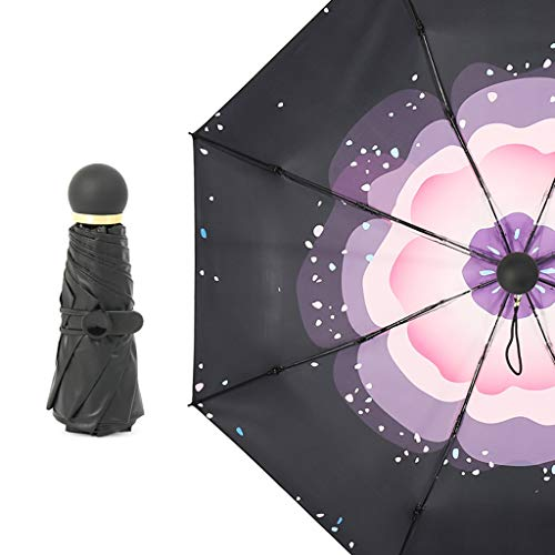 (Umbrella Shi Hao Tian Five fold Pocket Sun Sunscreen Mini Parasol Ultra Light UV Protection rain and rain Dual-use Folding)
