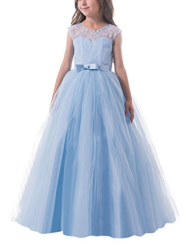 TTYAOVO Girls Pageant Ball Gowns Kids Chiffon Embroidered Wedding Party Dress Size 12-13 Years Blue