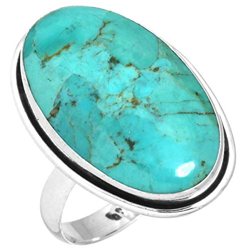 Solid 925 Sterling Silver Handcrafted Jewelry Natural Kingman Turquoise Ring Size 11.5