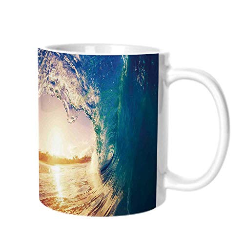 Ocean Decor Fashion Coffee Cup,Ocean Wave at Sunrise Reflection on Surface Tropical Trees Shoreline Summertime Picture For office,One size