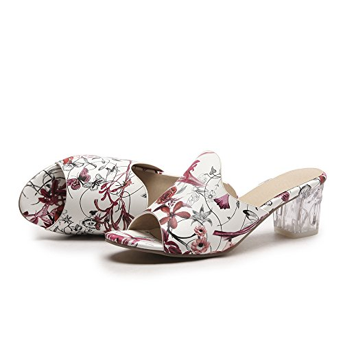 Floral Mode Mules Donne Red Melady Heels qpf1xnX