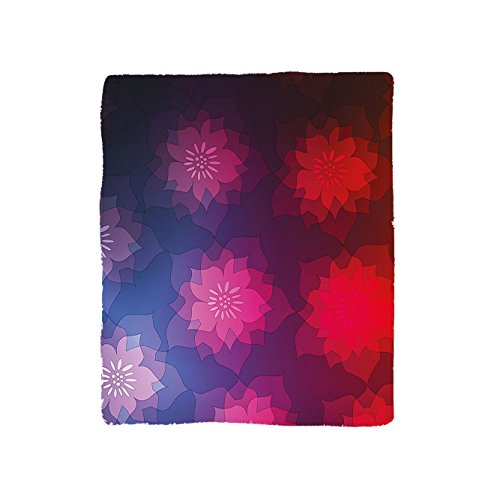 VROSELV Custom Blanket Rainbow colored Ombre Design with Floral Flower Detailed Image Bedroom Living Room Dorm Purple Blue Red and Hot Pink