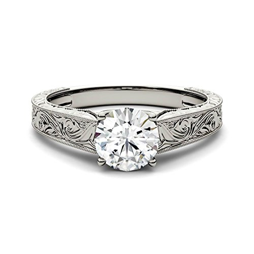 Forever One Round 6.5mm Moissanite Solitaire Engagement Ring, 1.00ct DEW (D E F) By Charles & Colvard