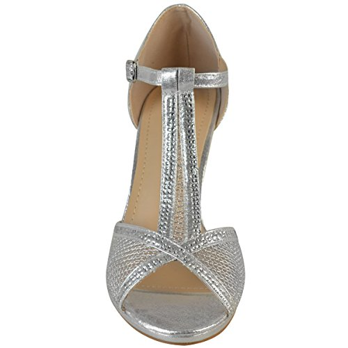 Fashion Thirsty Womens Wedding Bridal Shoes Prom Mid Heel Diamante Party Sandals Size Silver Shimmer oU39yzSLb