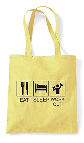 Funny Tiles Workout Eat Lemon Hobby Shopper Activity Sleep Bag Tote wapxUqFW6