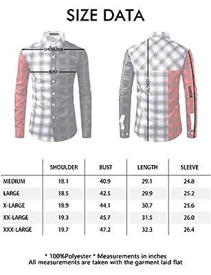 SOWTEE Men's Contrast Check Shirt Slim Fit Button Down Collar Long Sleeve Dress Shirt