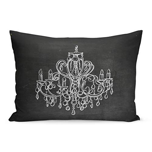 Semtomn Throw Pillow Covers Silver Silhouette Chalk Drawn Chandelier on Blackboard Sketch Drawing Home Pillow Case Cushion Cover Lumbar Pillowcase Decoration for Couch Sofa Bedding Car 20 x 30 inchs]()