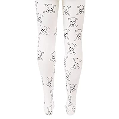 White Mid-Rise Pirate Skulls Halloween Children's Cosplay Costume Tights: Clothing