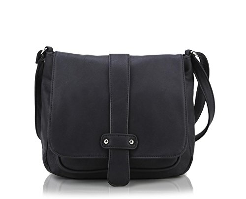 Scarleton Accent Strap Flap Crossbody Bag H153901 - Black (Cross Body Flap Bag)