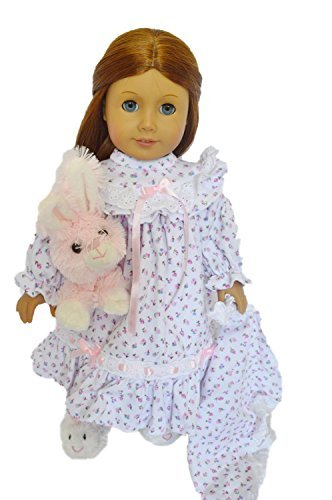 Floral Nightgown with Blanket for American Girl Dolls- 18...