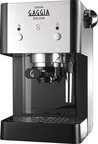 Gaggia GranGaggia Deluxe Black Macchina Manuale per il Caffè Espresso, per Macinato e Cialde, 15 bar, Colore Nero, RI8425/11