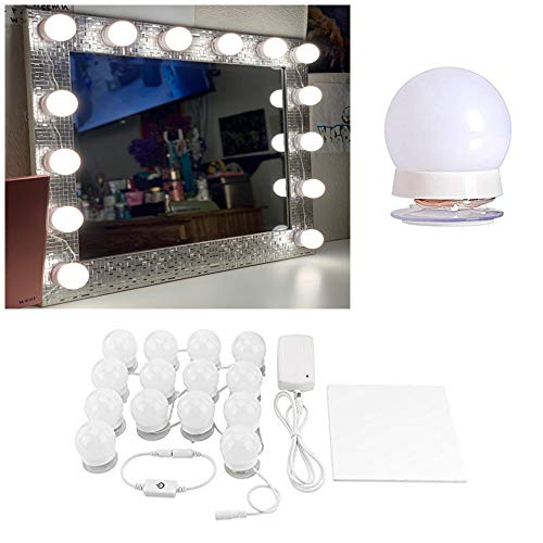 (Hollywood Style LED Vanity Makeup Mirror Lights Kit White with 14 Dimmable Bulbs,Lighting Fixture Strip for Makeup Vanity Table Set in Dressing Room(Mirror Not)