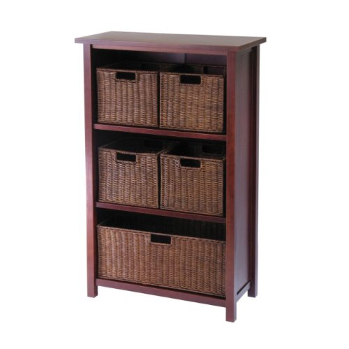 - Winsome Indoor Home Office Accent Wood Milan 6 Piece Cabinet Shelf with 5 Rattan Storage Baskets in Antique Walnut Finish